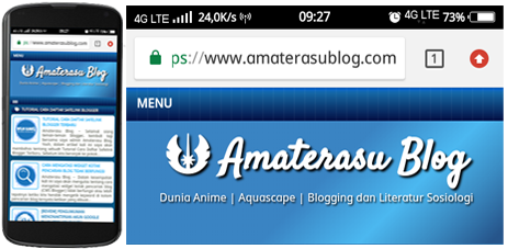 Tampilan address bar (bilah alamat) secara default blog/website jika dibuka pada browser mobile