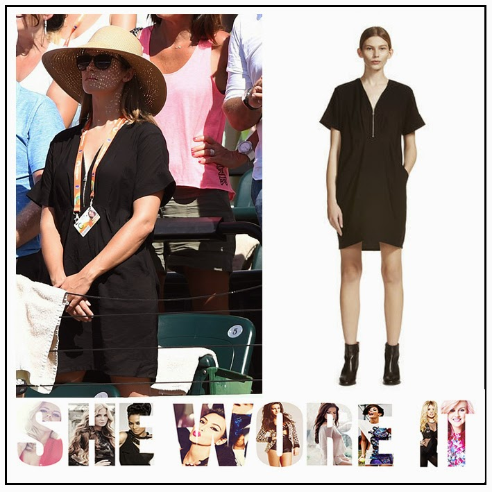Black, Celebrity Style, Dress, Kim Sears, Knee Length, Oversized, Pleating, Relaxed Shape, Silver Zip Detail, Tennis, Whistles
