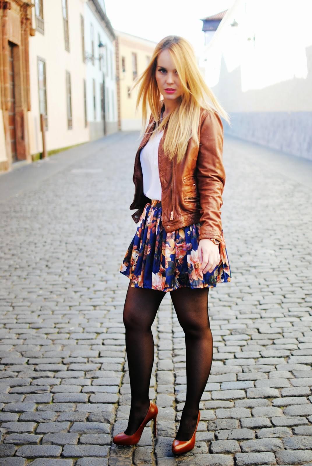 sammydress, nery hdez, floral skirt, leather jacket