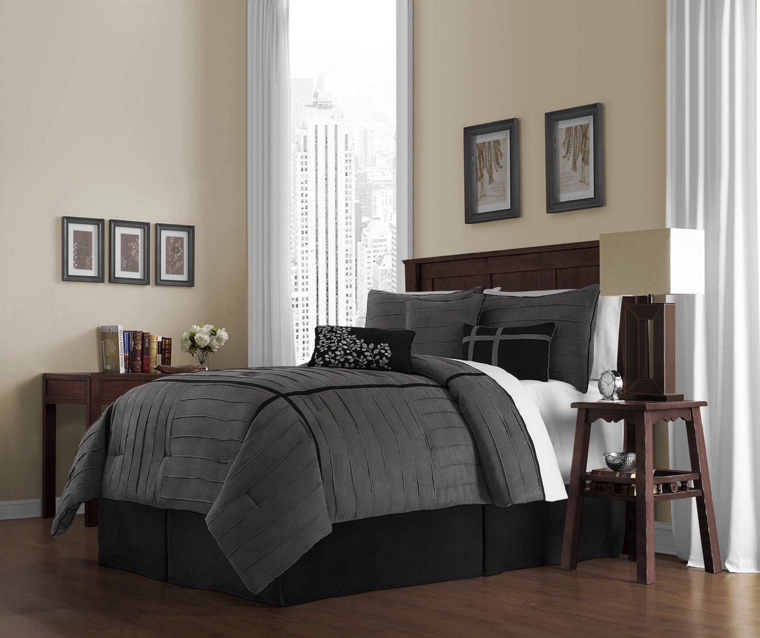 Black and grey bedding - Charcoal Grey Comforter Bedding Sets