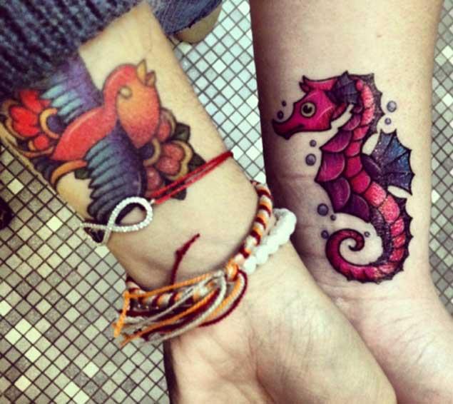 Tatuaje de la muñeca de caballito de mar