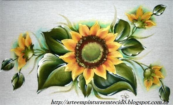 pintura em tecido  pano de prato girassol