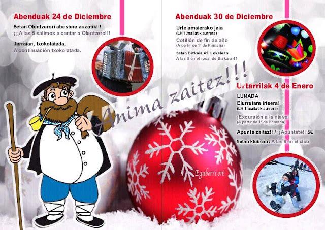 Cartel de actividades de Navidad en Rontegi
