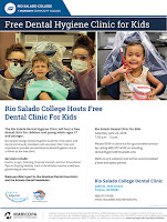 Flier for clinic.  Text in blog.  Images of students and young patients at clinics, smiling at camera.