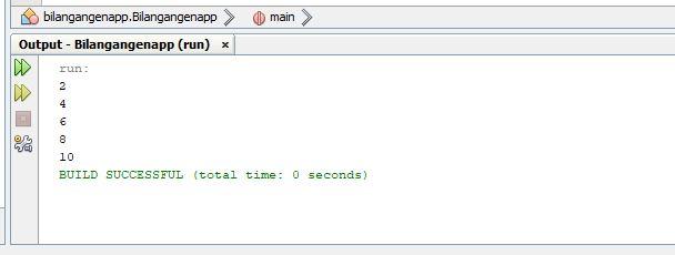 Hasil program java menampilkan deret bilangan genap 2 4 6 8 10