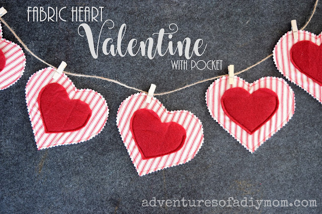 fabric heart valentine with pocket