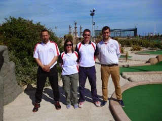 The Great Britain 3 Team of John Moore, Emily Gottfried, Richard Gottfried and Craig Patterson at the 2013 WMF World Adventure Golf Masters in Hastings. The team finished in 5th place