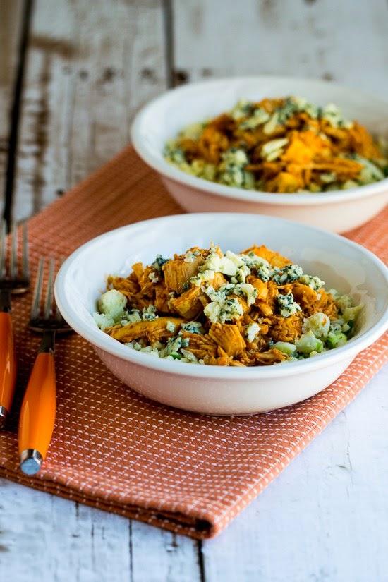 Slow Cooker Buffalo Chicken Cauliflower Rice Bowl found on KalynsKitchen.com