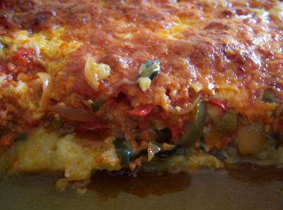 Lasaña de patata cocida verduras y carne picada