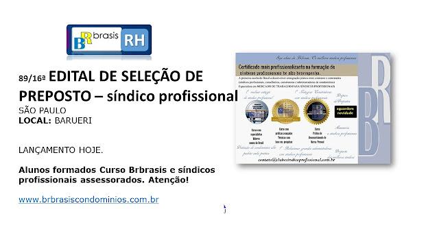 São Paulo : Edital de Processo Seletivo Contratação de Síndico Profissional (Vaga Preposto)