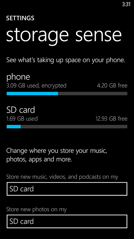 Windows Phone 8.1 Wi-Fi, Data and Storage Sense, Battery Saver 4