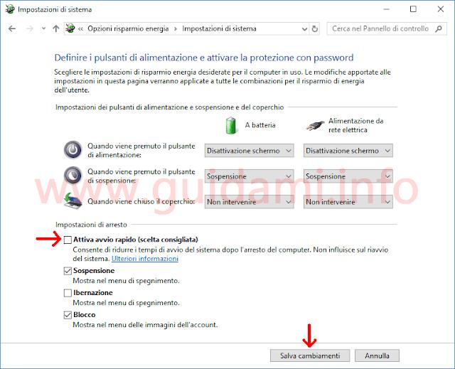 Windows 10 disattivare Avvio rapido da Pannello di controllo