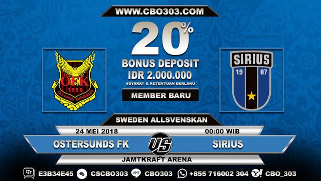 Prediksi Bola Ostersunds FK VS Sirius 24 Mei 2018