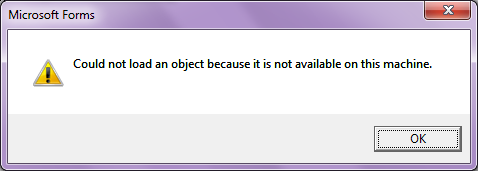Could not load an object because it is not available on this machine