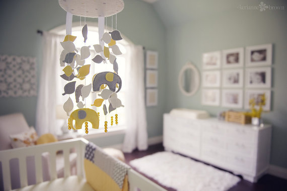 nursery decor decorating design gray and yellow