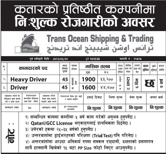 Free Visa, Free Ticket, Jobs For Nepali In Qatar, Salary -Rs.53,000/