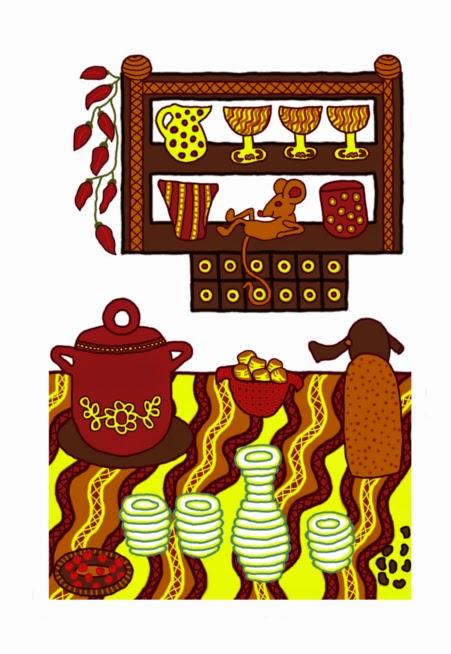 Digitális rajz egy konyháról, az asztalon fazék, pogácsa, szódásszifon, törkölypálinka, pörköltkávé, a polcon poharak, kancsó, szilvalekvár, egér.