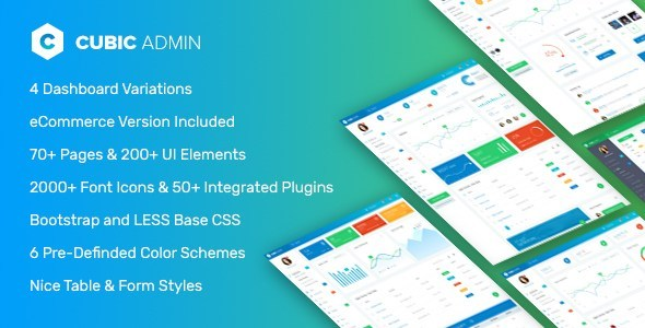 Cubic Admin – Dashboard + UI Kit Framework with Front End Templates