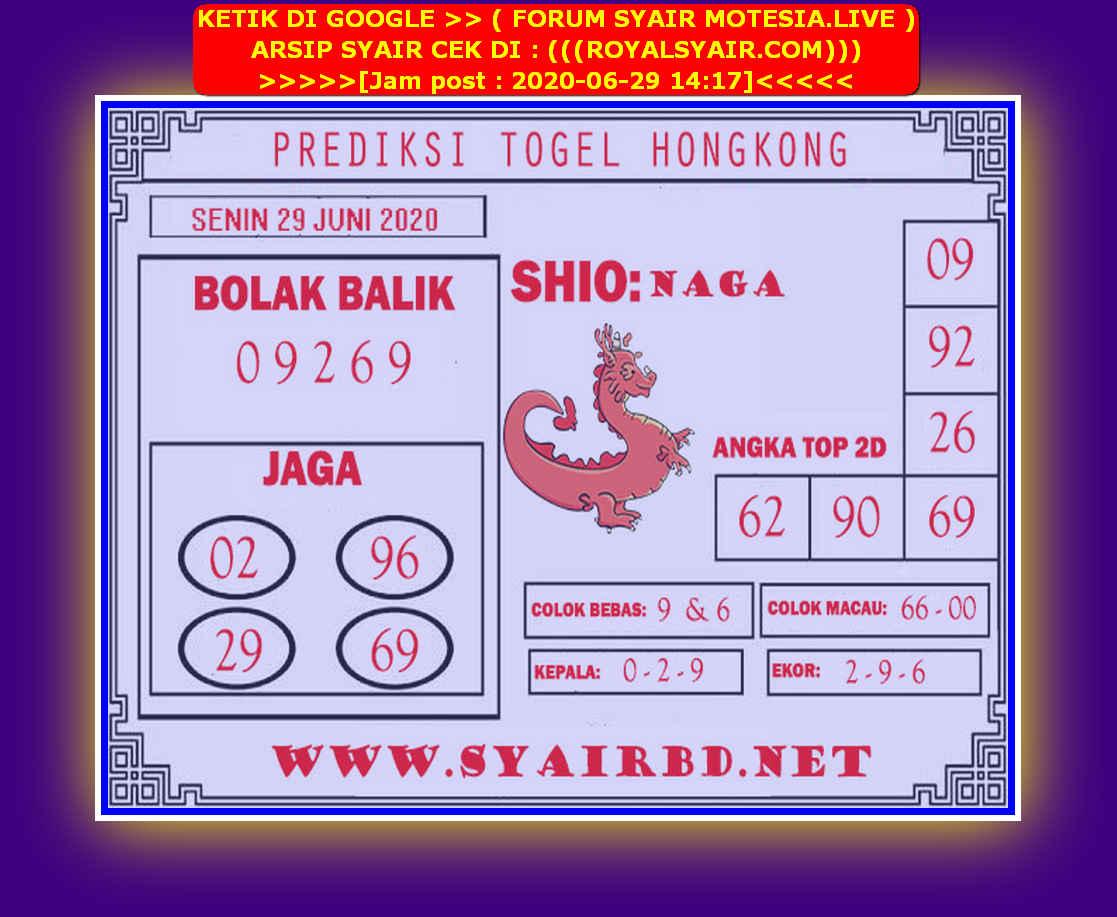 Kode syair Hongkong Senin 29 Juni 2020 210
