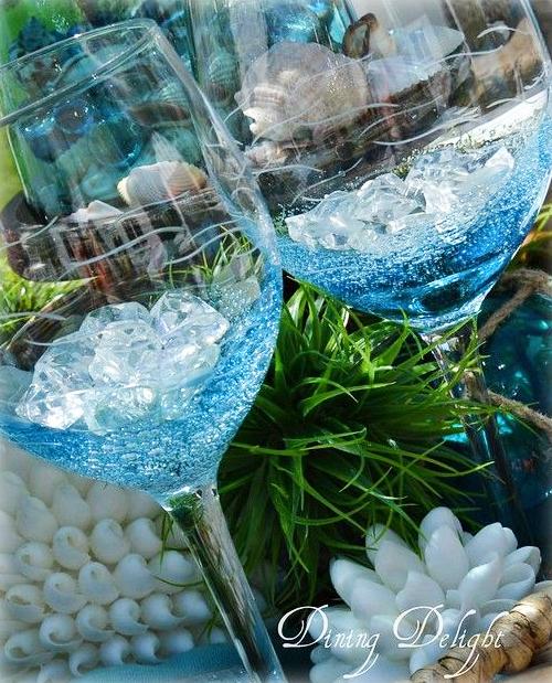 Blue Bubble Wine Glasses
