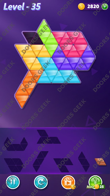 Block! Triangle Puzzle 7 Mania Level 35 Solution, Cheats, Walkthrough for Android, iPhone, iPad and iPod
