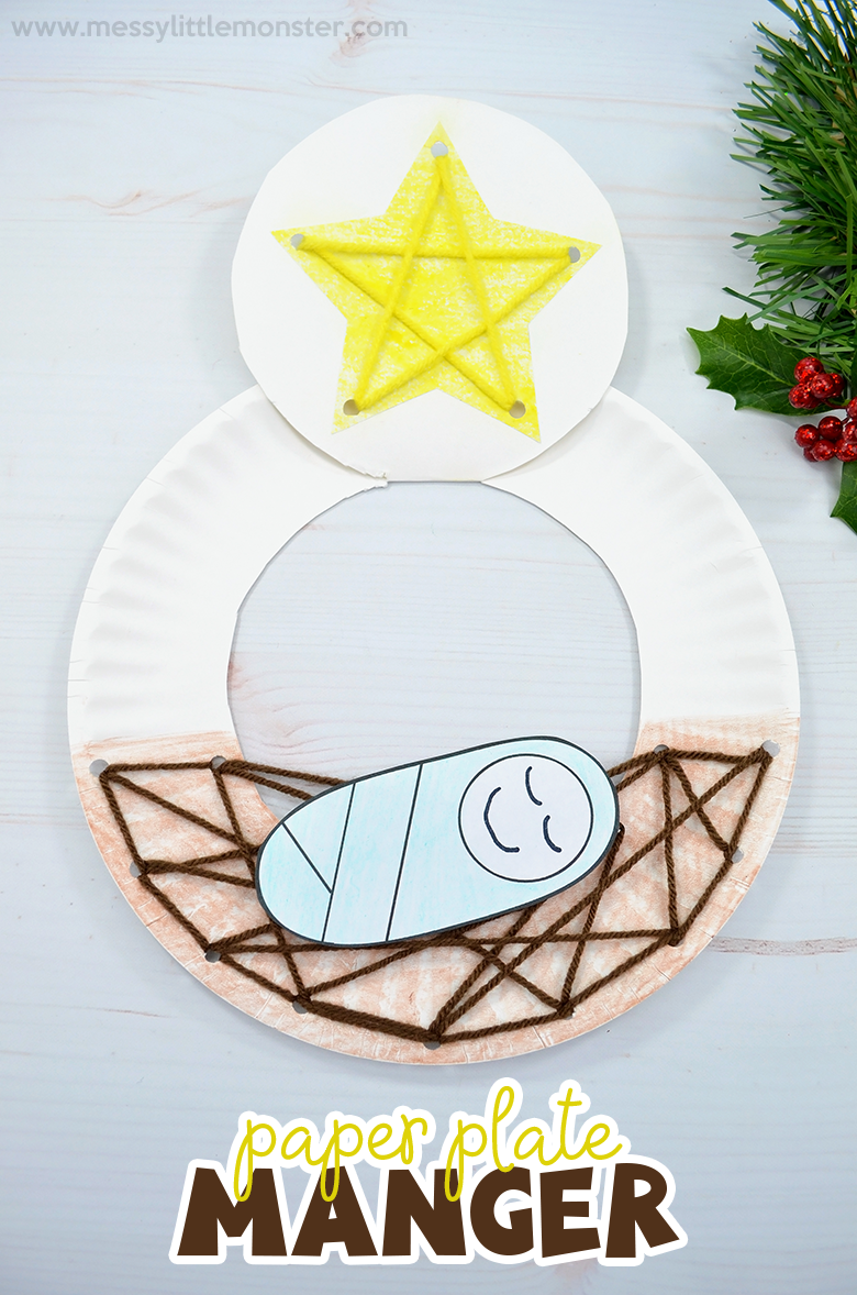 Baby Jesus in a manger nativity craft. Christmas paper plate crafts for kids.