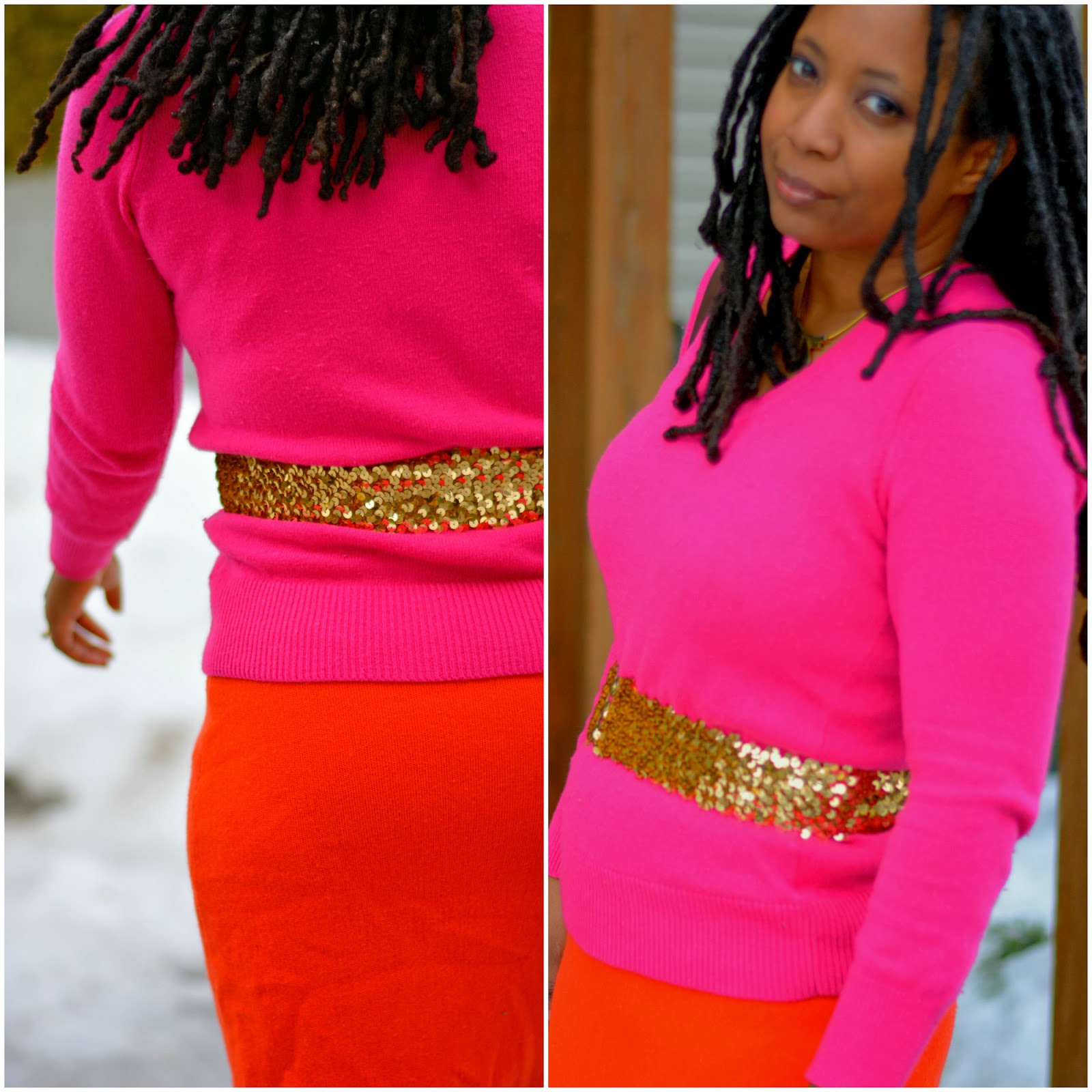 pink sweater sequin belt
