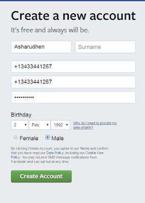 إنشاء حساب فيسبوك بدون رقم الجوال أو البريد الإلكتروني
