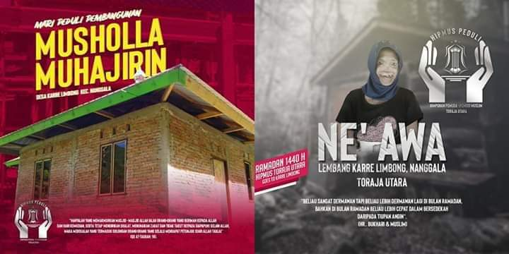 Berbagi Rezeki, Hipmus Torut Buka Donasi untuk Ne' Awa dan Mushollah Muhajirin Karre Limbong