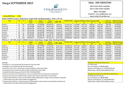 Harga Bukit CORDIA Citra Indah City September 2017