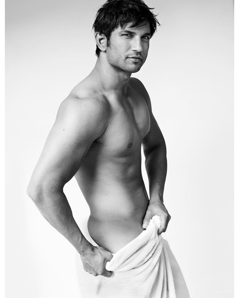 Sushant Singh Rajput poses in towel for Mario Testino