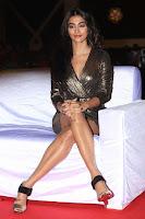 Pooja Hegde looks glamarous in deep neck sleevless short tight golden gown at Duvvada Jagannadham thank you meet function 073.JPG