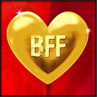 'BFF' text on gold heart free image for texting