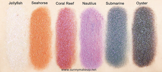 Swatch (applicazione bagnata) Neve Cosmetics - Sisters of Pearl. Ombretti minerali: Jellyfish, Seahorse,  Coral Reef, Nautilus, Oyster, Submarine.