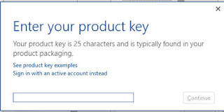 Enter MS office product key