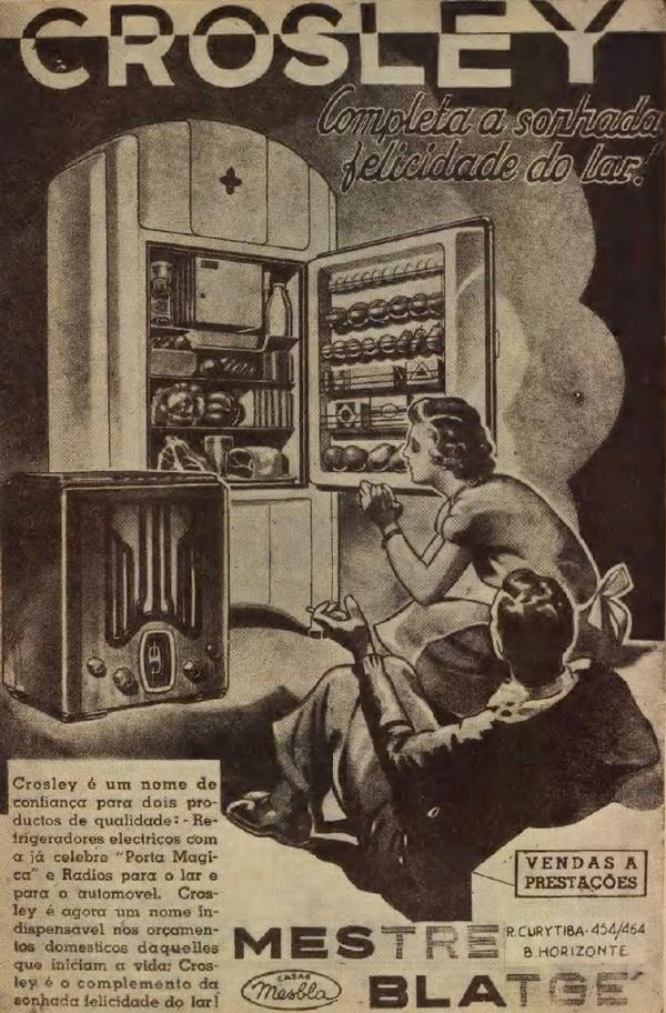 Propaganda dos anos 30 do refrigerador e rádio Crosley