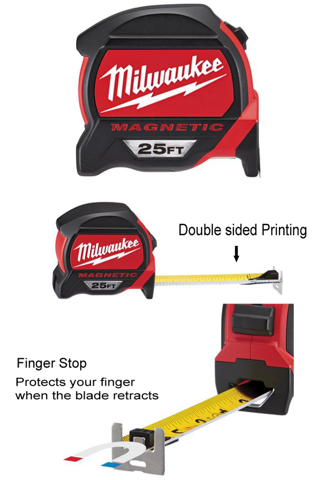 Milwaukee 25 ft. premium magnetic tape measure with finger stop