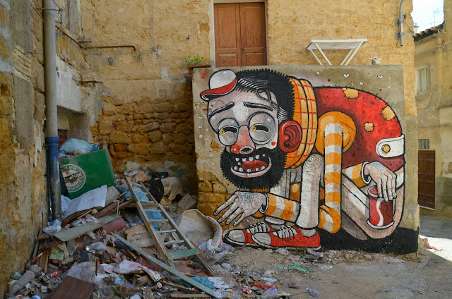 """Trash Only Salvation"" New Street Art Piece By Mr Thoms In Sicily, Italy. 5"
