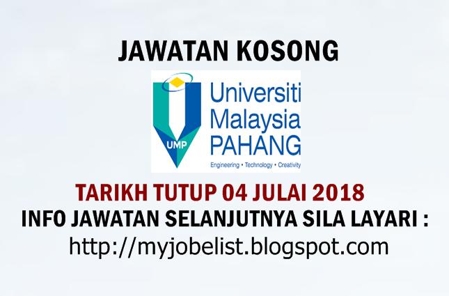 Jawatan Kosong Universiti Malaysia Pahang (UMP) Julai 2018