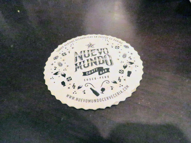 3 day Cusco itinerary: Beer coaster from Nuevo Mundo craft beer bar in Cusco