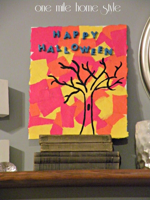 DIY Happy Halloween Art in Fall Colors