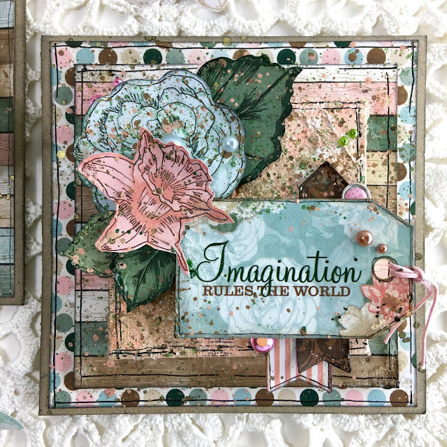 Canvas Card by Angela Tombari using BoBunny Felicity collection & Pentart Acrylic Paint