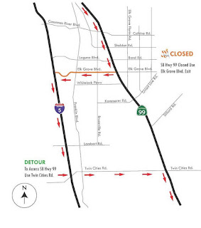 Caltrans Schedules Major Night Time Closure on Hwy. 99 in Elk Grove