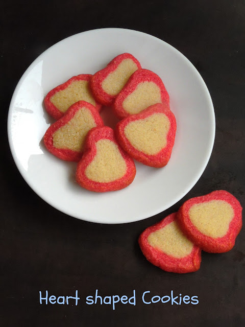 Eggless heart shaped butter cookies