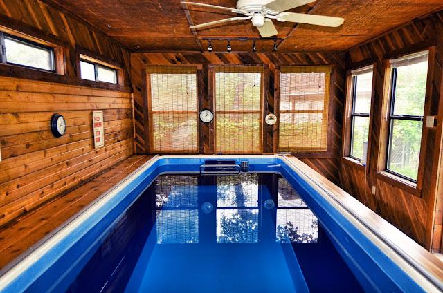 indoor Original Endless Pool in a cabin in San Antonio, Texas