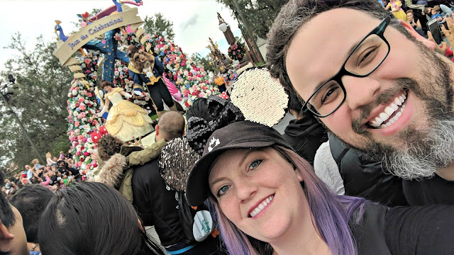 Celebrating my Birthday at the Magic Kingdom - Magic Kingdom Parade - Selfie with Beauty and the Beast