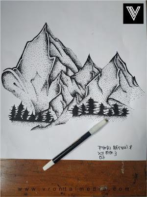 contoh gambar pointilis gunung