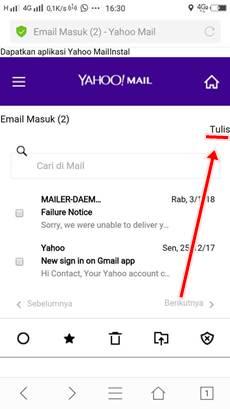 cara mengirim email yahoo lewat hp android