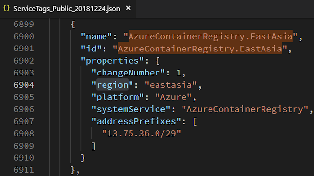 service public ip by Azure Container Registry EastAsia