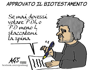 biotestamento, fine vita, beppe grillo, PDL, PDmenoL, salute, vignetta, satira